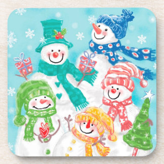 Happy Snowman Retro Christmas Coaster