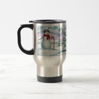 Happy Snowman Seasons Greetings Travel Mug