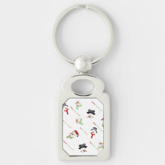 Happy Snowman Silver-Colored Rectangle Key Ring