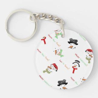 Happy Snowman Single-Sided Round Acrylic Key Ring