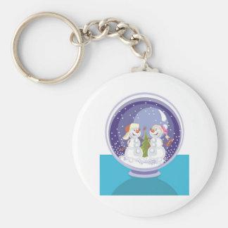 Happy Snowman Snow Globe Key Ring