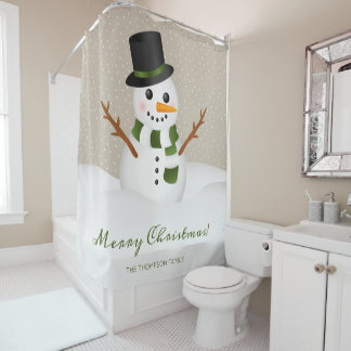 Happy Snowman With A Hat & Custom Name Christmas Shower Curtain