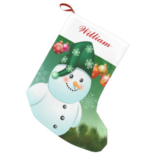 Happy Snowman With Green Hat Small Christmas Stocking