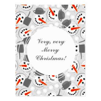 happy snowmans on gray polka dots postcard