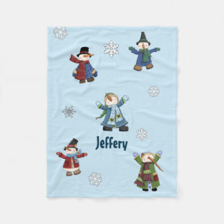 Happy Snowmen Custom Fleece Blanket