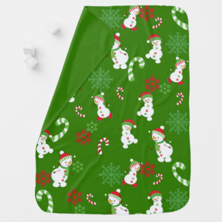 Happy Snowmen Snowflakes Candy Canes Pattern Baby Blanket