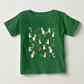 Happy Snowmen Snowflakes Candy Canes Pattern Baby T-Shirt