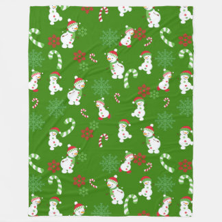 Happy Snowmen Snowflakes Candy Canes Pattern Fleece Blanket