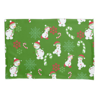 Happy Snowmen Snowflakes Candy Canes Pattern Pillowcase