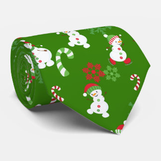 Happy Snowmen Snowflakes Candy Canes Pattern Tie