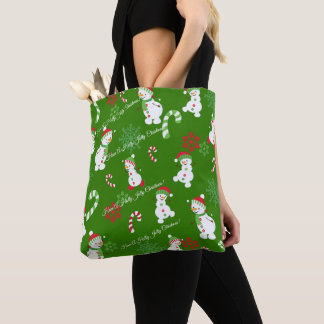 Happy Snowmen Snowflakes Candy Canes Pattern Tote Bag