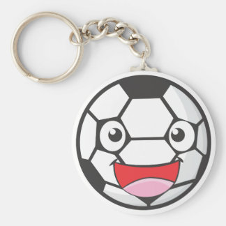 Happy Soccer Ball Basic Round Button Key Ring