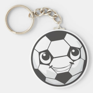 Happy Soccer Ball Smiling Basic Round Button Key Ring