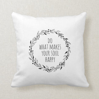 Happy Soul Pillow, Mood Pillow, Quote Pillow