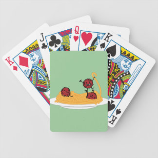 Happy Spaghetti and Meatballs Bicycle Playing Cards