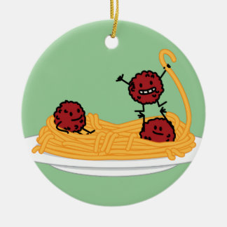 Happy Spaghetti and Meatballs Ceramic Ornament