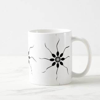 Happy Sperm fertilization. Black and white Coffee Mug