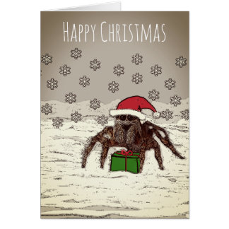 Happy Spider Christmas Card With Personalized Name