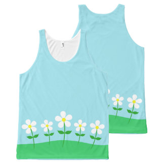 Happy Spring Daisies All-Over Print Singlet