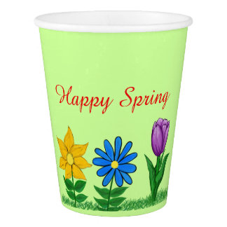 Happy Spring Floral Green Paper Cups