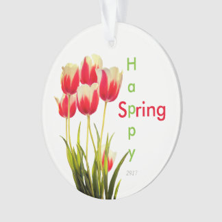 Happy Spring Red Tulips with Date Keepsake Ornament