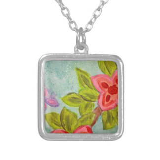 happy spring! silver plated necklace