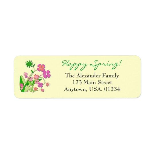 Happy Spring Spring Flowers Return Address Label
