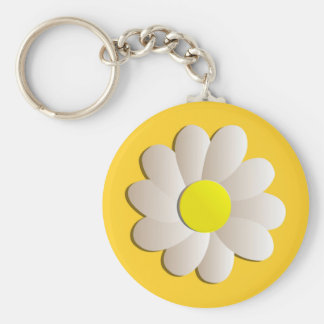 HAPPY SPRING TIME DAISY YELLOW  FRESH FLOWER BASIC ROUND BUTTON KEY RING