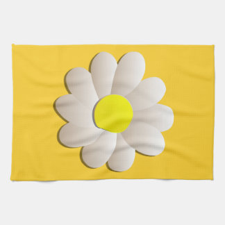 HAPPY SPRING TIME DAISY YELLOW  FRESH FLOWER KITCHEN TOWEL