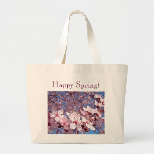 Happy Spring! Tote Bags Pink Tree Blossoms gifts