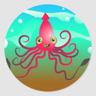 Happy Squid Classic Round Sticker