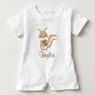 Happy Squirrel Personalize Baby Bodysuit