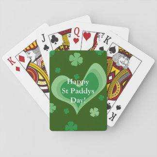 Happy St Paddys Day custom lucky shamrock clover Playing Cards