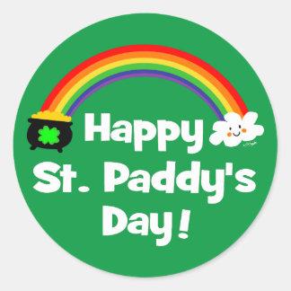 Happy St Paddy's Day Rainbow Round Sticker