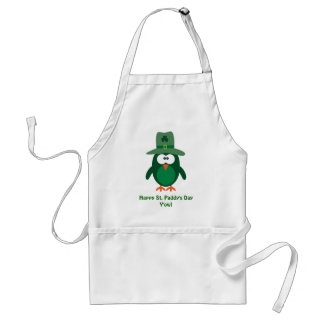 Happy St. Paddy's Day Y'owl Cute Green Owl Adult Apron