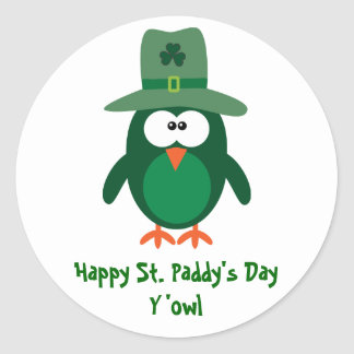 Happy St. Paddy's Day Y'owl Cute Green Owl Round Sticker