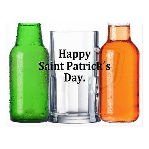 """Happy St. Patrick´s Day"" beer drinking Irish flag Post Card"