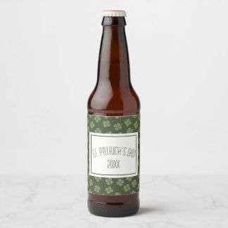 Happy St. Patrick's Day Green Four Leaf Clovers Beer Bottle Label