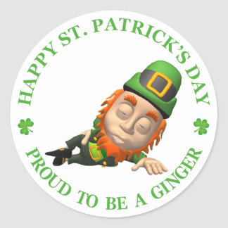 Happy St Patrick s Day - Proud to be a Ginger Round Stickers