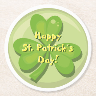 Happy St. Patrick´s Day Shamrock Round Paper Coaster