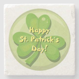 Happy St. Patrick´s Day Shamrock Stone Beverage Coaster