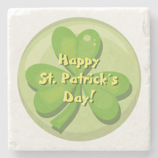Happy St. Patrick´s Day Shamrock Stone Beverage Coaster