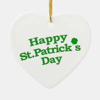 Happy St. Patrick´s Day Typographic Design Ceramic Heart Decoration