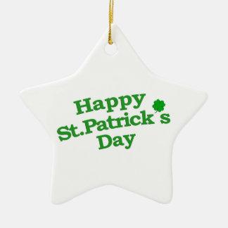 Happy St. Patrick´s Day Typographic Design Ceramic Star Ornament