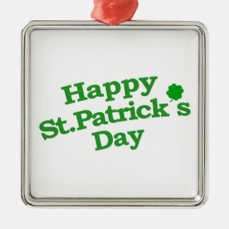 Happy St. Patrick´s Day Typographic Design Silver-Colored Square Ornament