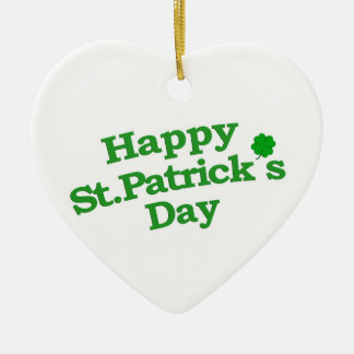 Happy St. Patrick´s Day Typographic Design Ceramic Heart Ornament