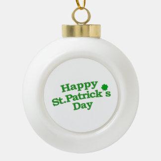 Happy St. Patrick´s Day Typographic Design Ceramic Ball Christmas Ornament