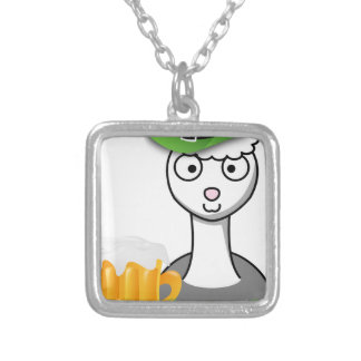 happy st patricks day alpaca silver plated necklace