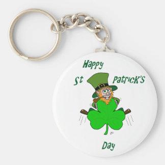 Happy St Patrick's Day Basic Round Button Key Ring