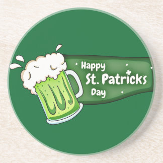 Happy St Patricks Day Beer Banner Coaster